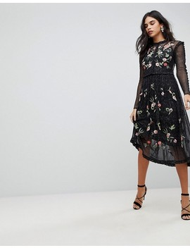 Frock And Frill Floral Premium Embroidered Metallic Tulle Skater Dress by  Frock And Frill