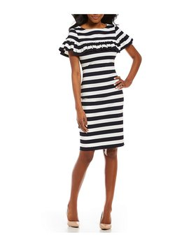 Eliza J Ruffle Stripe Sheath Dress by Eliza J