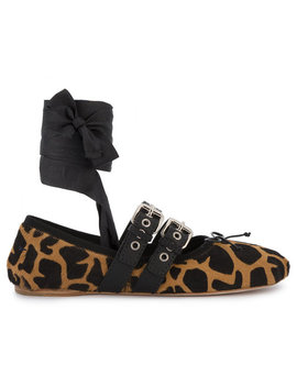Giraffe Pony Double Buckle Ballerina Flats by Miu Miu