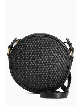 Black Woven Leather Circle Bag by Next