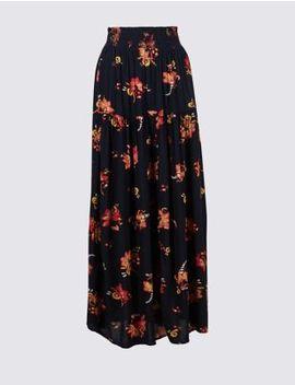 Floral Print Crinkle Full Maxi Skirt by Marks & Spencer