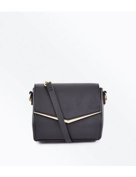 Black V Front Micro Shoulder Bag by New Look