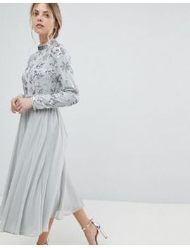Asos Floral Embellished Bodice Long Sleeve Midi Skater Dress by Asos Collection