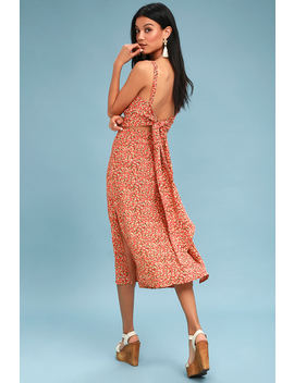 Katergo Coral Pink Floral Print Backless Midi Dress by Faithfull The Brand