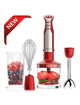 X Project 800 W 4 In 1 Hand Blender With 6 Speed,Powerful Immersion Hand Blender For Smoothies Baby Food Yogurt Sauces Soups (Red) by X Project
