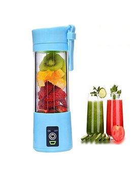 Portable 6 Blades In 3 D Juicer Cup,Updated Version Rechargeable Juice Blender Magnetic Secure Switch Electric Fruit Mixer For Superb Mixing 380ml (Blue) by Shentianmei