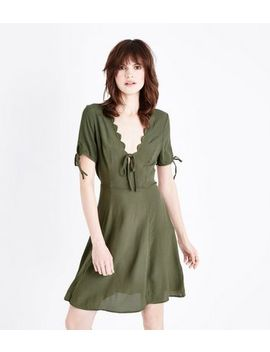 Khaki Scallop V Neck Tea Dress by New Look