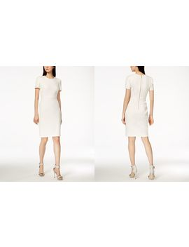 Seamed Scuba Crepe Sheath Dress by Calvin Klein