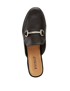 Bamboo Faux Leather Metal Buckle Loafer Mules by Charlotte Russe