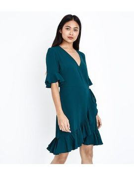 Petite Dark Green Frill Trim Wrap Front Dress by New Look