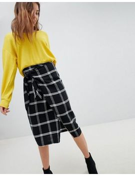 Bershka Check Wrap Midi Skirt With Tie Waist by Bershka