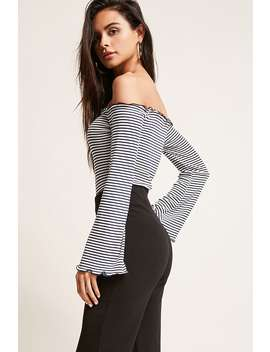 Off The Shoulder Stripe Bodysuit by F21 Contemporary