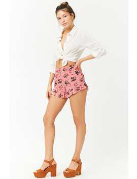 Flamingo Print High Rise Shorts by Forever 21