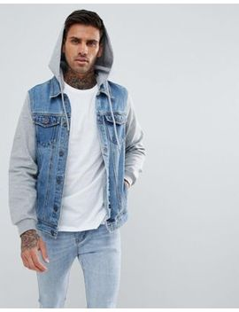 Pull&Bear Denim Jacket With Jersey Sleeves And Hood In Blue by Pull&Bear