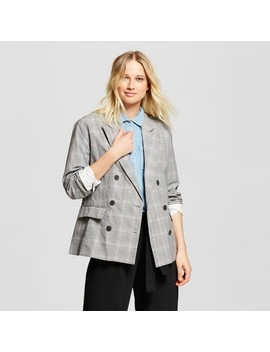 Women's Plaid Roll Up Cuff Poplin Blazer  Who What Wear™ Pink by Who What Wear
