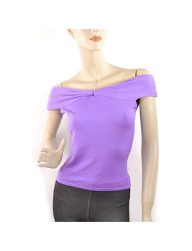 New Victorias Secret Luxe Silk Knit Knotted Off Shoulder Blouse Top Small Violet by Victoria's Secret