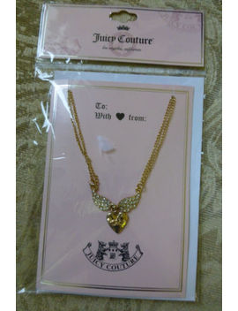 Juicy Couture Gold Tone Necklace Angel Wings On A Heart New by Juicy Couture