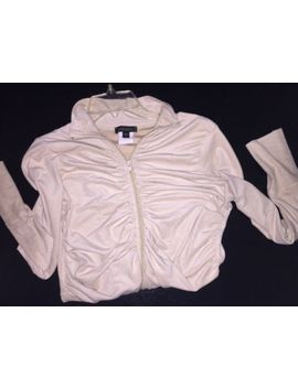 Bebe Ruched Zip Ultra Suede Feel Beige Jacket Size Small by Bebe