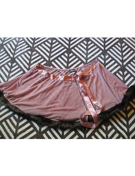 Fredericks Of Hollywood Mini Flare Night Skirt Sz Large Faux Fur Dusty Pink Ties by Frederick's Of Hollywood