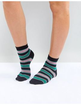 Asos Glitter Stripe Ankle Socks by Asos Collection
