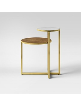 Mixed Material Marble & Metal Accent Table Gold   Project 62™ by Project 62™