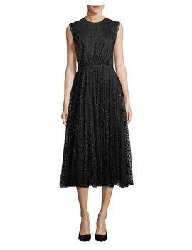 Sleeveless Jewel Neck Dot Tulle Flared Skirt Dress by Co