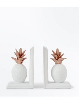White Pineapple Bookends by New Look