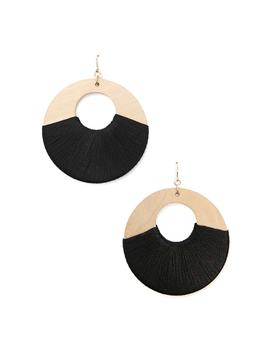 Wooden Drop Hoop Earrings by Forever 21