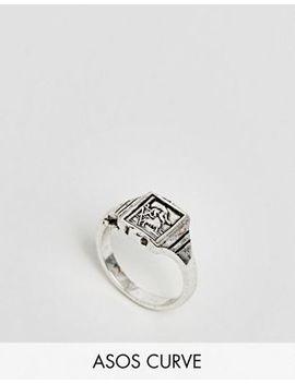 Asos Design Curve Vintage Style St Christopher Signet Ring by Asos Design