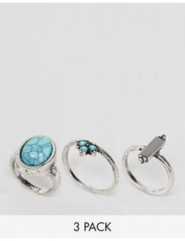 Asos Design Pack Of 3 Stone And Ball Detail Rings by Asos Design