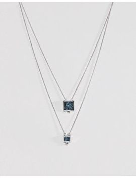 Asos Multirow Necklace With Recycled Denim Stones by Asos Collection