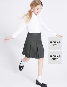 Girls' Skirt With Permanent Pleats by Marks & Spencer