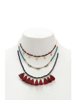 Tasseled & Beaded Layer Necklace by Forever 21