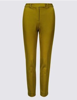 Cotton Blend 4 Way Stretch Ankle Grazer Trousers by Marks & Spencer