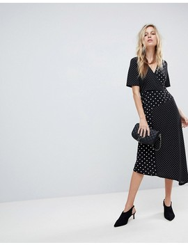 Asos Midi Wrap Dress In Mixed Spot Print With Asymmetric Hem by Asos Collection