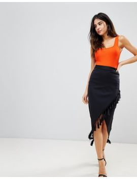 Asos Scuba Pencil Skirt With Fringe Detail by Asos Collection