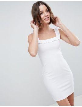 Asos Design Bardot Frill Mini Rib Dress by Asos Design