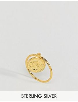 Asos Gold Plated Sterling Silver Vintage Style Coin Charm Ring by Asos Collection