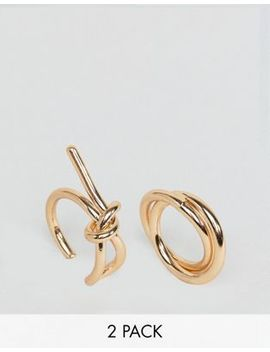 Asos Design Pack Of 2 Sleek Interlocking Band And Knot Rings by Asos Collection