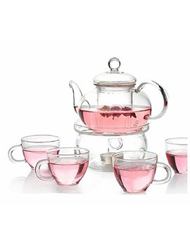 Personal Clear Heat Resistant Borosilicate Glass Teapot Tea Set & Infuser 400ml And 4 Handle Tea Cups by Moyishi