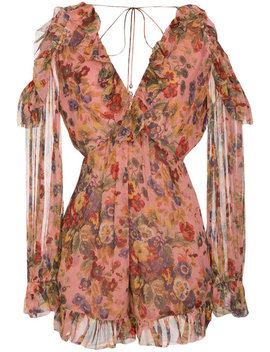 Silk Floral Print Cold Shoulder Playsuit by Zimmermann