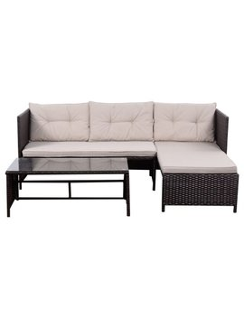 Goplus 3 Pcs Outdoor Patio Rattan Furniture Sofa Lounge Chaise Set Cushioned New by Goplus