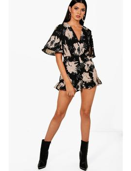 Aria Floral Ruffle Hem Wrap Playsuit by Boohoo
