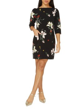 Orchid Print Shift Dress by Dorothy Perkins