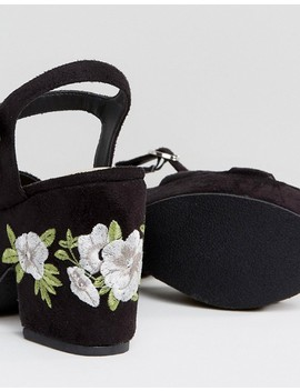 Truffle Collection Embroidery Floral Platform Sandal by Shoes