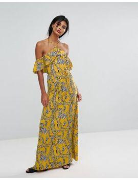 Ax Paris Yellow Printed Off The Shoulder Maxi Dress by Maxi Dress