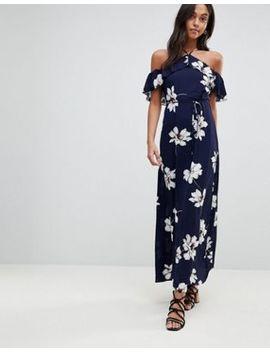 Ax Paris Cross Front Maxi Floral Print Dress by Dress