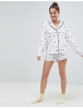 Asos Illustrated Conversational Short Pyjama Set In 100 Percents Modal by Asos Collection