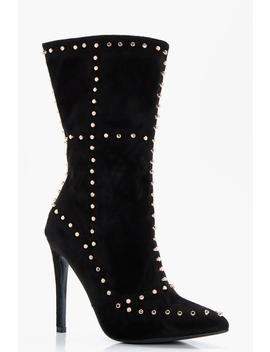 Premium Saffron Studded Heeled Sock Boot by Boohoo