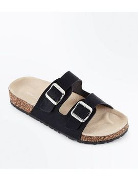 Black Double Buckle Strap Sliders by New Look